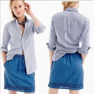 J. Crew Blue Chambray Embroidered Mini Skirt